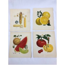 Vintage Pertchick Kitchen Prints Morton Salt Melon Tomato Corn Lemon Set of 4   153064591985