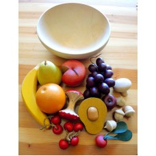 Vintage Tree Spirit Wood Bowl With 16 Pieces of Wooden Fruit Avocado Mushroom   263851879529