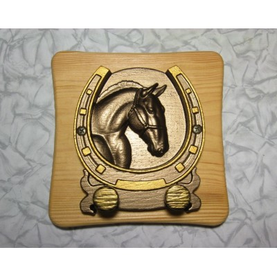 Bronze horseshoe on wooden shield ranch key holder lucky horse cowboy keyholder   263844777946