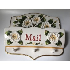 Ceramic Mail Key Holder Wall Pocket with Hooks Floral White Gardenia Elegant    253813593289