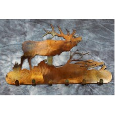 Elk in Woods Key Holder Metal Art Copper/Bronze Plated   163202762406