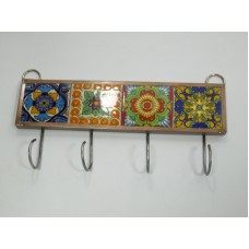 KEY HOLDER with talavera tile, mexican handmade wall hanging, key hook, folk art   273312861839