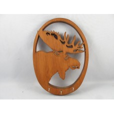 QUEBEC FOLK ART MOOSE HEAD WALL HANGING KEY HOLDER IN WOOD   183355290742