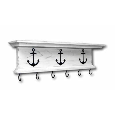 "Rustic Key Holder Wall Shelf WIth Hooks Nautical Boat Anchors 18"" Distressed   323393077388"