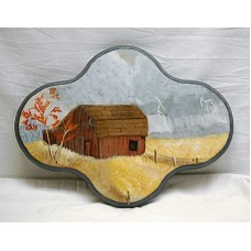 Vintage Style Wooden Wall Mount Key Holder w Country Barn Scene Signed T.M.   302828789949