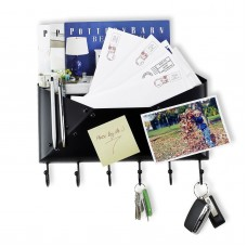 WALLNITURE Foyer Wall Mount Letter Mail Key Newspaper Holder with 6 Hooks, Black   263787217272