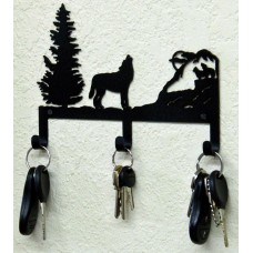 Wolf Key Holder Rustic Lodge Metal Art Woodland Hunting Cabin Decor USA Made   361568592703