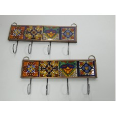 set of 2 KEY HOLDERS with talavera tile, mexican handmade wall hanging, key hook   273364439732