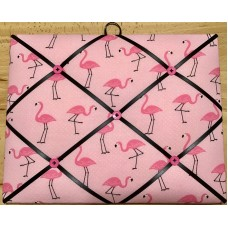French Bulletin Board Photo Memo Board Pink Flamingo Print 11x14 inches   273363092762
