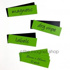 Green Magnetic Dry Wipe Labels Whiteboard Precut 30mm x 100mm Pack of 10 5013918013968  332715588754