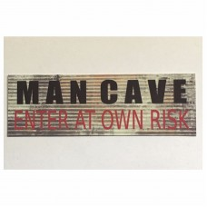 Man Cave Enter Risk Sign Man Small Garage Room Tin/Plastic Rustic Wall Plaque    302301454472