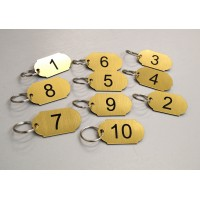 Set of 10 numbered key tags, clubs leisure centres, school, keyrings, door, home   122191401687
