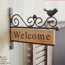 Vintage Shabby Chic Wood Welcome Sign Metal Bird WELCOME Plaque Wall Decor   132119453503