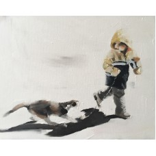 Boy and Cat Art PRINT signed art print from oil painting by James Coates   122676056393