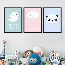 Lovely Cartoon Baby Panda Canvas Print Painting Animals Poster Kids Room Decor   302785352382