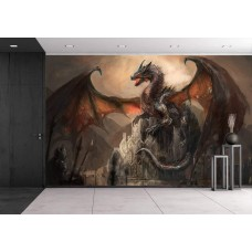 Wall26 - War with the dragon on castle - Canvas Art Wall Decor - 66x96 inches   123309848482