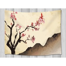 A Plum Blossom Blooming Alone On Peak Wall Hanging Tapestry Smooth Supple   253355374438