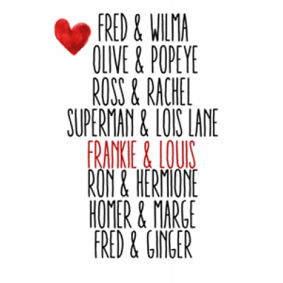 Anniversary Personalised Print  - Famous Couple Names    112740652466