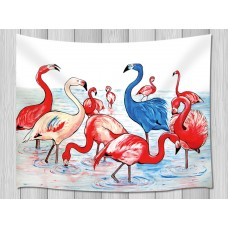 Flamingos in the River Tapestry Wall Hanging for Living Room Bedroom Dorm Decor   263599424008