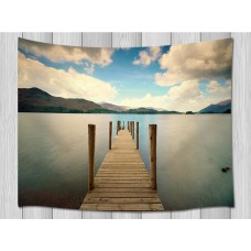 Gulf Wood Pier Hills Nature Tapestry For Living Room Bedroom Dorm Wall Hanging   253813890458