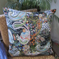 New Large 24X24 Indian Black Pillow Cushion Cover Bohemian Floral Kantha Throw   172607821231