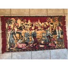 Vintage 25 x 43 Egyptian Indian Snake Charmer Design Tapestry Rug Carpet   173472288248