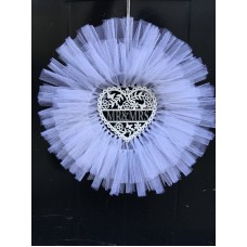 Wedding White Tulle Wreath For Front Door 45cm, Heart Mr&Mrs Sign, Party, Gift   173275352885