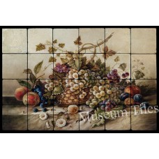 24x16  Fruit Backsplash Mural Art Deco Tumbled Marble Tiles Kitchen Ideas    371804679689