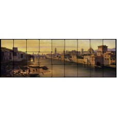 36x12 Florence A View Of The River Arno Mural Tumbled Marble Tiles 371570501282