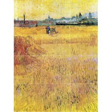 Art Van Gogh Wheat field with View of Arles Mural Ceramic Backsplash Tile #3001   181281327440