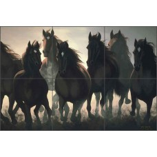 Ceramic Tile Mural Backsplash Shower Ryan Horses Equine Art EWH-LMR005   361515527674