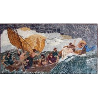 Jesus in the Storm Mosaic Marble Mural   253190527841