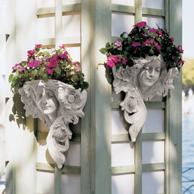 Art Nouveau Set of 2 Classical Lady French Antique Replica Wall Sculpture New   382375635610