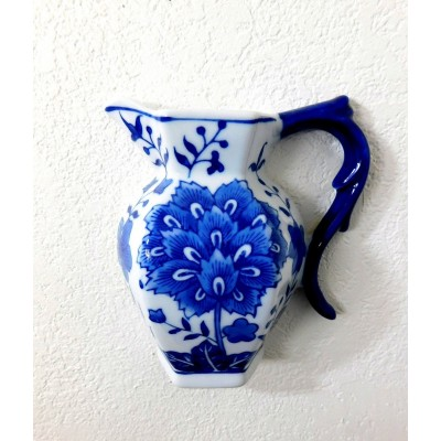 FORMALITIES FLOW BLUE & WHITE  PORCELAIN  PITCHER WALL POCKET FLOW BLUE LIKE   202391292533