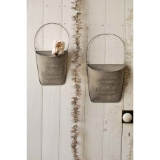 Galvanized Christmas Metal Hanging Wall Pockets-Door Pockets S/2 Primitive    132728764055
