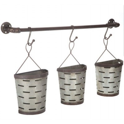 Hanging Buckets Metal Wall Decor olive buckets farmhouse home decor new!   273026969191