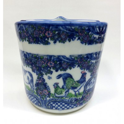 Large Country Style Blue Porcelain Table Wall Pocket Planter Vase  Cows Chickens   332747809082