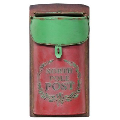 North Pole Christmas Red and Green Metal Post Box *New Farmhouse Decor Trend**   202401871804