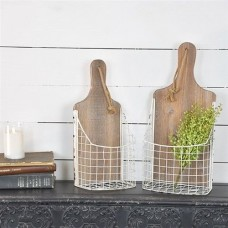 Set of 2 Wooden Cutting Board Wall Baskets   382525093027