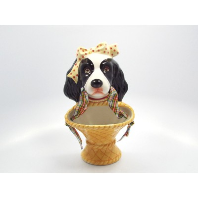 Spaniel Dog with Bow Holding Basket in Mouth Wall Pocket   382529265859