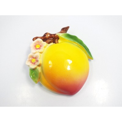Vintage Japan Peach Fruit with Flower Blossom Wall Pocket   123169144154