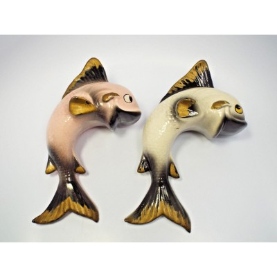 Vintage Mid Century Pink & White w/ Gold & Black Trim Pair of Fish Wall Pockets   332404860849