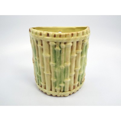 Vintage Small Green & Brown Bamboo Wall Pocket, signed   332550876483