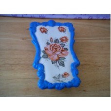 Vintage Wall Pocket Hanger, Roses, Blue Border, Sittre Ceramic Prod 1982   223069489578