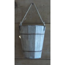 WALL POCKET BUCKET Farmhouse WOOD Half Bucket Reclaimed Wood Beach Bucket   183374518743