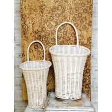 Willow Baskets Wall Pockets-Door Baskets-White Washed-Set of 2    132735161441