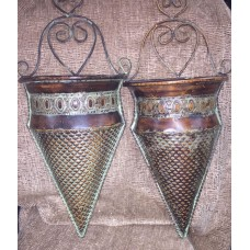 pair of decorative wall vases/sconces/plaques/pocket-garden art/ copper, patina   382534421669