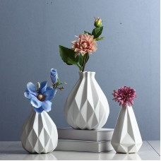 Modern Decoration White Ceramics Flower Vase Geometry Crafts Home Creative Gift   152789712673