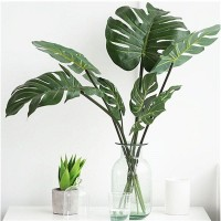 12pcs Artificial Palm Fern Turtle Leaves Plastic Silk Fake Plant Leaf Home Decor   162558961132