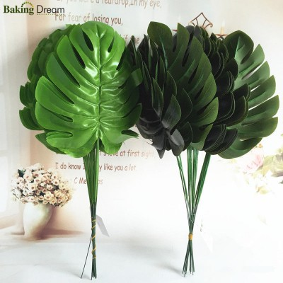 12pcs Monstera Single Artificial Leaves Plastic Silk Fake Leaves Party Decor   162556803963